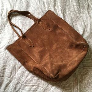 Vintage Suede Tote Bag Boho Vintage 70s